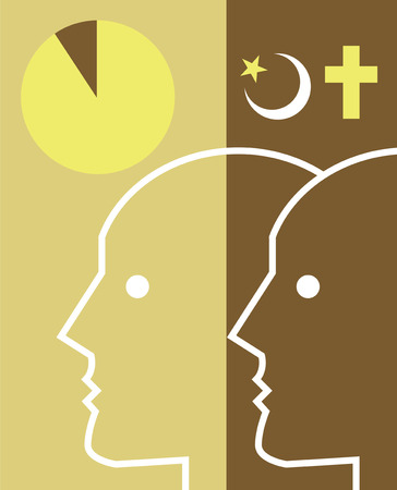 Human profiles with religious symbols and pie chart overhead