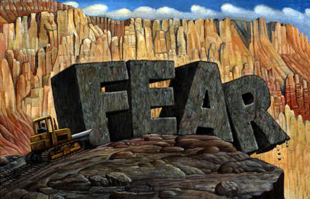 Bulldozer pushing 'FEAR' rocks over edge of cliff