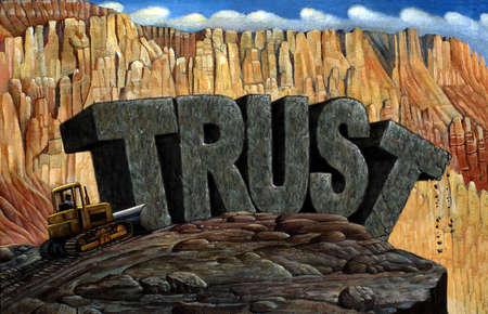 Bulldozer pushing 'TRUST' rocks over edge of cliff