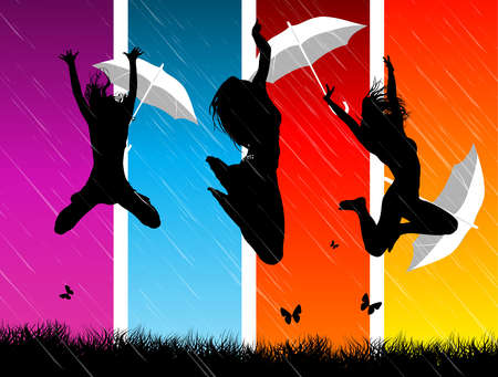 People with umbrellas jumping in front of colorful panels