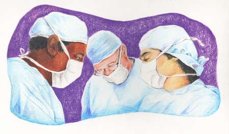Multi-ethnic surgeons wearing surgical caps and masks