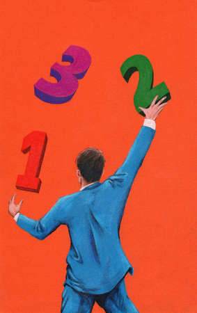Businessman reaching for 1, 2, 3 numbers overhead