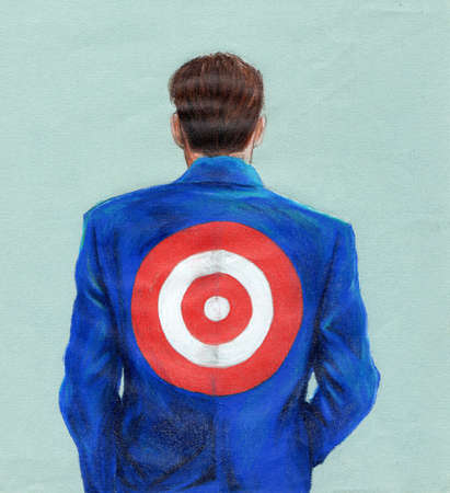 Businessman with bull's-eye on back