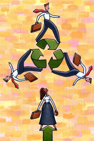 Business people and recycling symbol