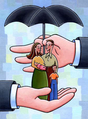 Large business hands cupping and holding umbrella over family