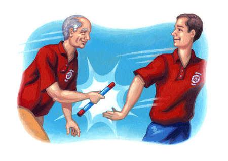 Senior man passing baton to younger man