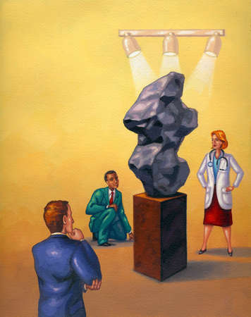 Business people and doctor examining rock formation under spotlights