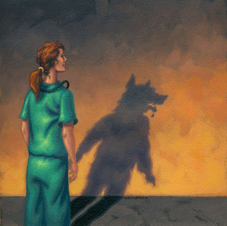 Woman in scrubs looking at shadow of wolf on wall