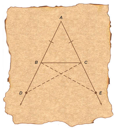 Euclid's proposition that the base angles in an isosceles triangle are equal may have been named the Bridge of Asses.