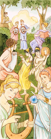 In ancient Greek and Roman mythology the Muses were nine sister goddesses who inspired people in the arts and sciences.