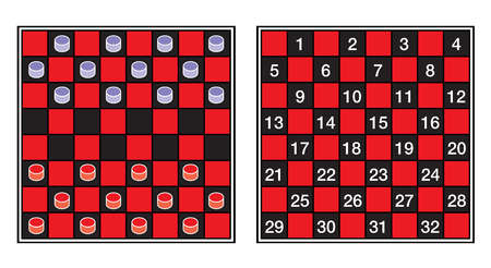 A checkerboard, or draughtboard, set for play.