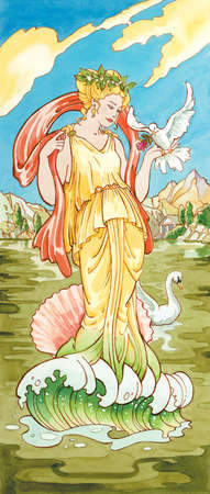 Aphrodite, the ancient Greek goddess of sexual love and beauty, identified with Venus by the Romans.