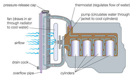 Stock Illustration - Typical gasoline engine cooling system.