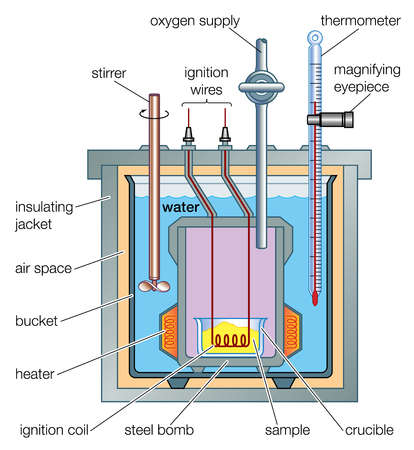 Cross section of a typical bomb calorimeter.