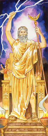 In ancient Greek mythology, Zeus ruled over all the other gods as well as humans. The Romans associated him with Jupiter.
