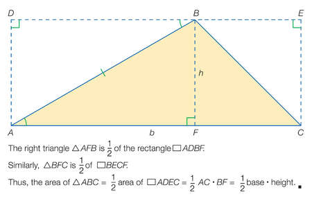 Proof that the area of a triangle = 1/2 base x height.