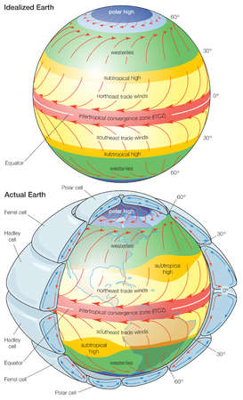 General patterns of atmospheric circulation over an idealized Earth with a uniform surface and the actual Earth.