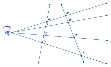 Although distances and ratios of distances are not, the cross ratio, defined as AC/BC BD/AD, is preserved under projection.