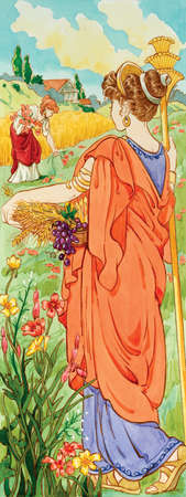 In Greek mythology, Demeter was the goddess of agriculture. In Roman mythology, she is associated with Ceres.