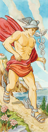 Hermes was messenger to the gods of ancient Greece, often sent on errands for Zeus. Roman mythology associated him with Mercury.
