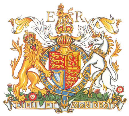 The chief components of armorial bearings as indicated on the Royal Arms of the UK, used in England for Queen Elizabeth II.