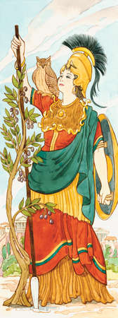 In Greek mythology Athena was the goddess of war, handicrafts, and wisdom and reason. The Romans associated her with Minerva.