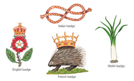 Selected badges of Europe: the English badge, Italian badge, Welsh badge, and French badge.