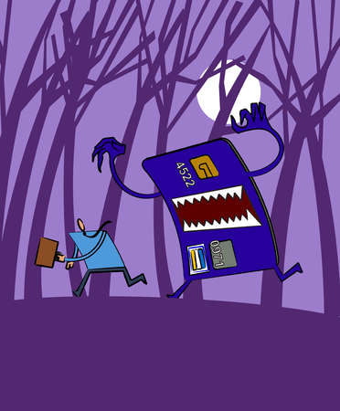 Monster credit card chasing businessman