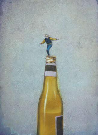 Teenager balancing on beer bottle