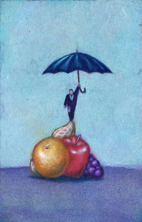 Man with umbrella standing on fruit