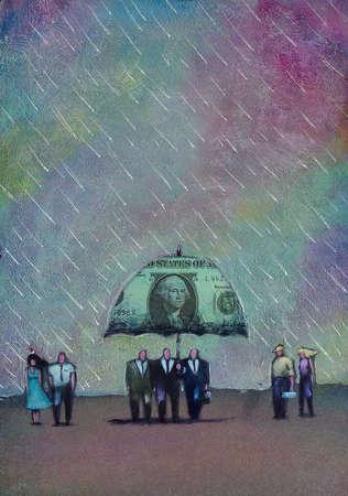 Businessmen walking under money umbrella