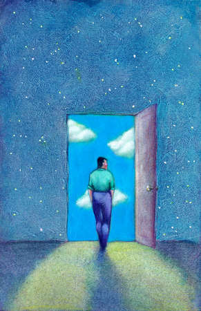 Man opening door to sky