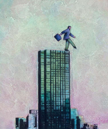 Man stepping off highrise building