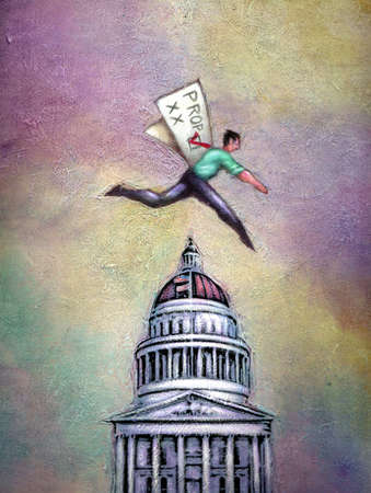 Man jumping over capitol building
