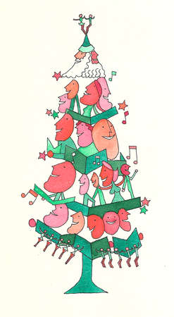 Carolers in Christmas tree