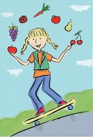 Girl juggling fresh fruits and skateboarding