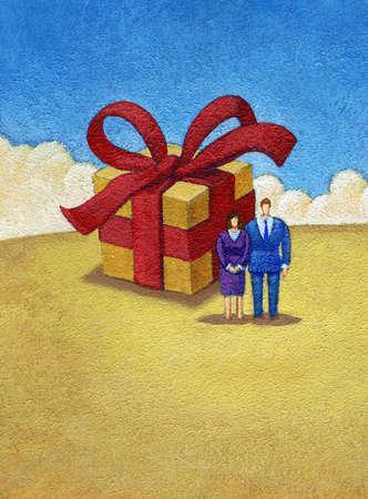 Couple near large gift