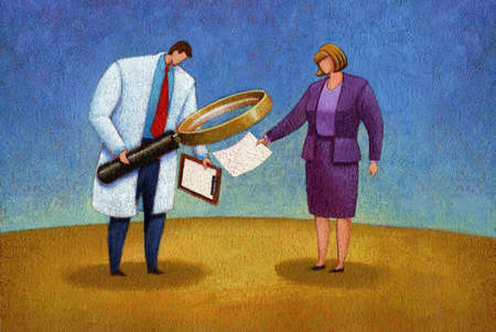 Doctor examining medical records