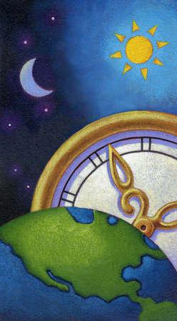 Clock in sky behind planet earth