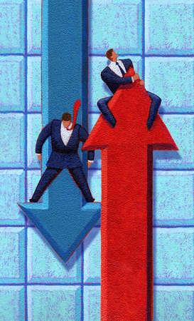 Businessmen riding arrows