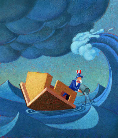 Uncle Sam bailing water out of house