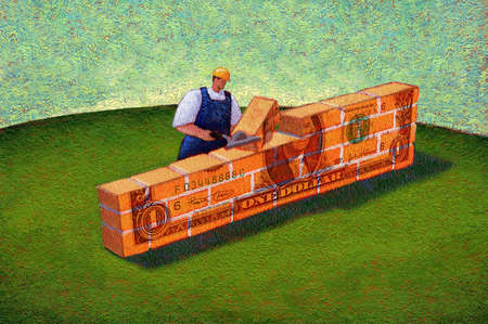 Man building money wall
