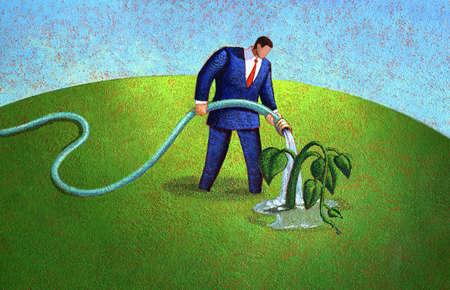 Businessman water wilting plant