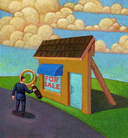 Businessman examining house facade