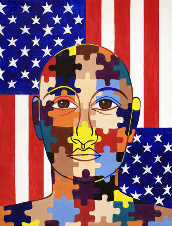 Man with colorful puzzle face