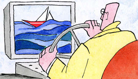 Man steering boat on computer monitor