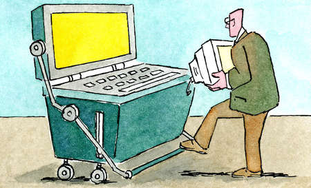 Businessman using old computer
