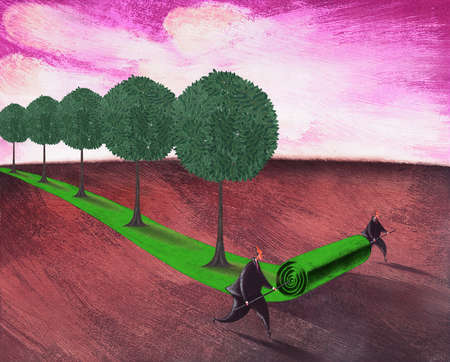 Businessmen unrolling carpet of trees