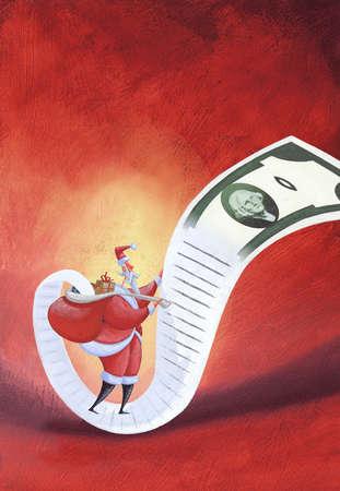 Santa looking at list of names