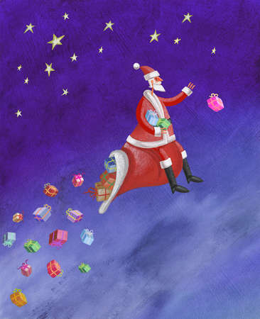 Santa riding on sack throwing gifts